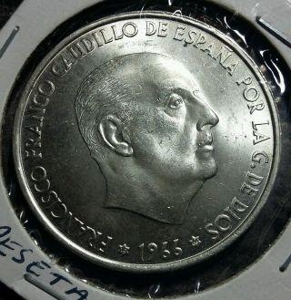 1966 Spain 100 Pesetas Large Silver Coin photo
