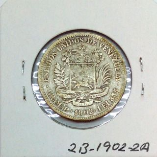 Venezuela Gram 10,  2 Bolivares 1902 Scarce Coin Km Y 23 photo