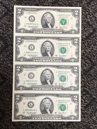 Uncut 2003a 4 $2 Two Dollar Sheet Of Bills Uncirculated photo