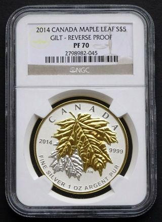 2014 Canada: 1 Oz $5 Maple Leaf,  Gilt Reverse Proof,  Ngc Pf70 photo