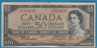 1954 50$ Bank Note Of Canada Beattie / Coyne Prefix A/h3594026 Circ.  Bc - 42a photo