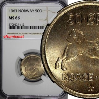 Norway Olav V Copper - Nickel 1963 50 Øre Ngc Ms66 Top Graded By Ngc Km 386 photo