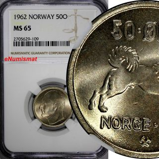 Norway Olav V Copper - Nickel 1962 50 Øre Ngc Ms65 Top Graded By Ngc Km 386 photo