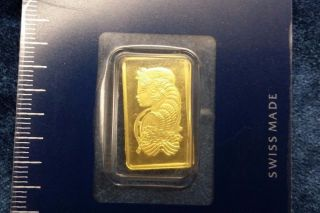 2.  5 Gram Pamp Suisse 999.  9 Gold Bar Lady Fortuna In Assay - Never Opened photo
