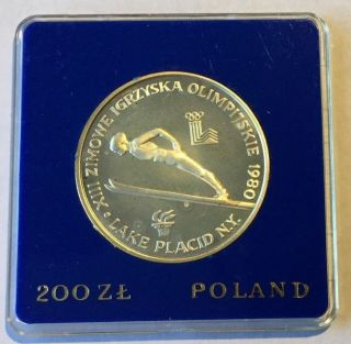1980 Poland Lake Placid Winter Olympics Skier Silver Proof 200 Zlotych photo