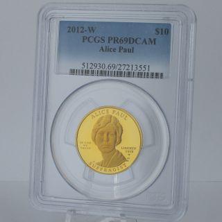 2012 W $10 Alice Paul Suffragist First Spouse 1/2 Oz 99.  99 Pure Gold Pr69dc photo