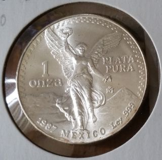 1987.  Mo.  Mexico ☆ Onza ☆ Silver Coin.  Km 494.  2 photo