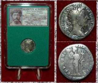 Roman Empire Coin Marcus Aurelius Felicitas On Reverse Silver Denarius photo