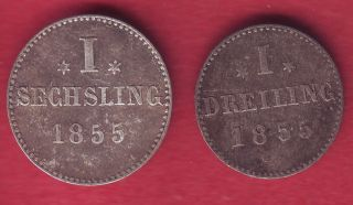 R Hamburg 1 Sechsling & 1 Dreiling Bilon 1855 Vf/vf,  Details photo