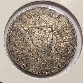 Norway 2 Kroner,  1910 Haakon Vii Silver Coin photo