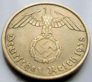 German 3rd Reich 1938 A - 10 Reichspfennig Wwii Coin photo