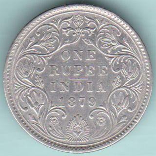 British India - 1879 - Victoria Empress - 0/1 Dot - One Rupee - Rare Silver Coin photo