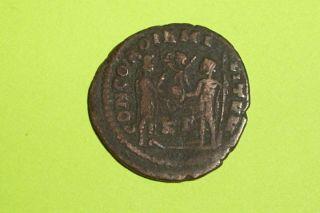 Ancient Roman Coin Presentation Scene Diocletian 284 Ad Jupiter Victory Globe Vg photo