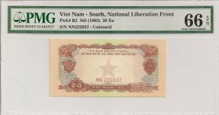R2 1963 20 Xu,  Viet Nam - South,  National Liberation Front Pmg 66epq photo