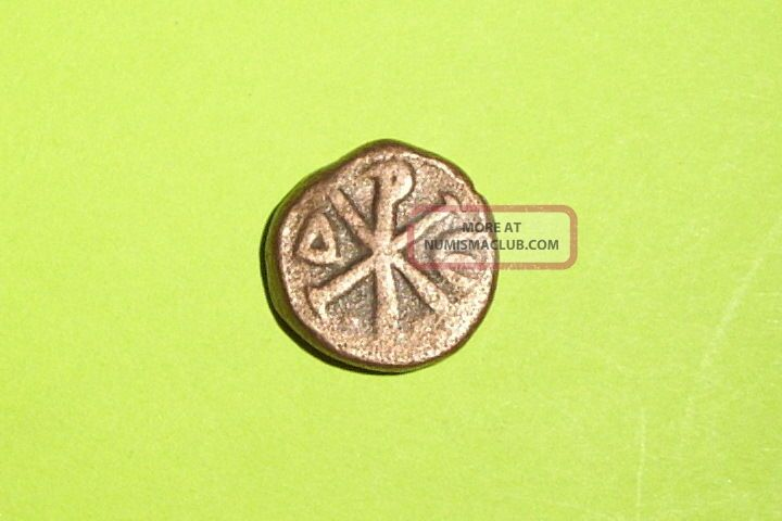 Ancient Byzantine Coin Christogram Justin I 518 Ad - 527 Ad Chi Rho Christ O Gram Coins: Ancient photo