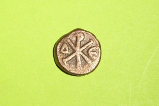 Ancient Byzantine Coin Christogram Justin I 518 Ad - 527 Ad Chi Rho Christ O Gram photo