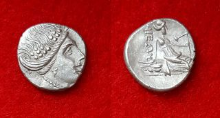 H80: Ancient Greek Silver Coin : Histiaia In Euboia - Tetrobol 300 - 200 B.  C photo