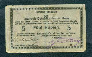 German East Africa 5 Rupien 1/11/1915 P - 34c Ro 921e Vg Serie E photo