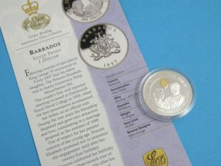 Barbados - 1997 Silver Proof One Dollar Crown Coin,  Gold Cameo,  Certificate photo
