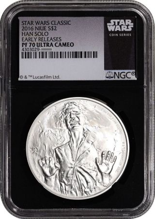 2016 Niue $2 1 Oz Silver Star Wars Han Solo Ngc Pf70 Uc Er (black Core) photo