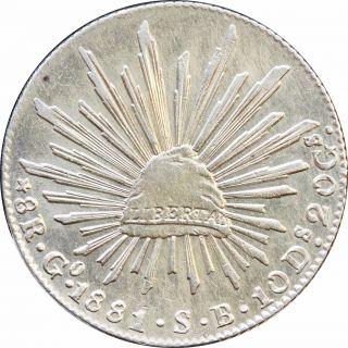 Mexico 8 Reales Go 1881/0 S.  B.  Guanajuato,  Km 377.  8 Overdate. photo