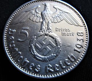 Xrare 1938j 5 Mark German Big 90 Silver Nazi Swastika Germany 3rd Reich Ww Coin photo