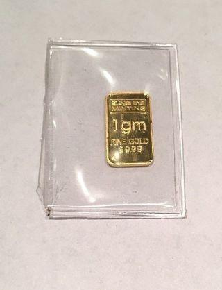 Sunshine Minting 1 Gram.  999 Gold Bar - Ingot - Uncirculated photo