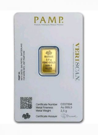 2.  5 Gram Pure Gold Bar Pamp Suisse Fortuna Version Assay $9.  99 Nr photo
