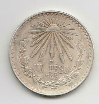Mexico Km455 1 Peso 1945.  3856 Silver photo