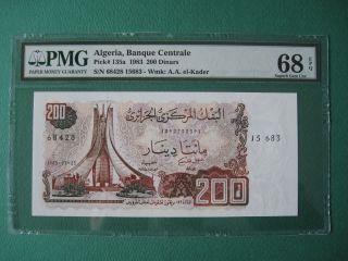 1983 Algeria 200 Dinars P 135a Pmg 68 Epq Gem Unc