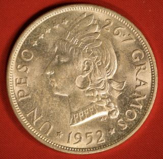 Dominican Republic Silver Peso 1952 Lightly Circulated photo