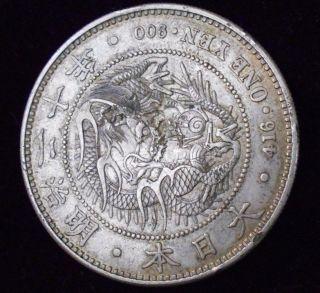 1882 Meiji Year15 Japan Trade Dollar Silver One Yen Dragon Coin Chop Marks Rare photo