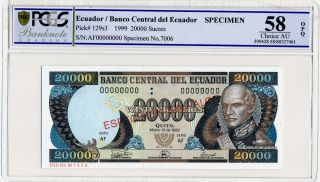 Banco Central Del Ecuador Ecuador 20000 Sucres 1999 Speci,  000000 Pcgs 58opq photo