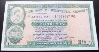 Hong Kong 10 Dollars 1970,  Choice Unc,  Scarce,  Pick 182g photo
