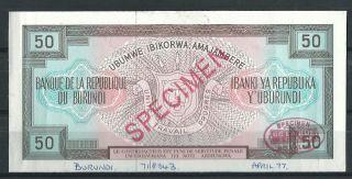 Burundi 50 Francs 1977 // Specimen Proof Rare Scarce Trial photo