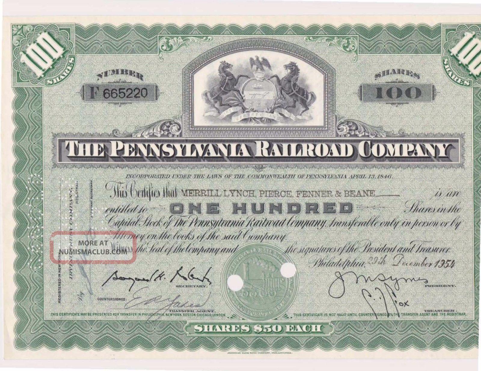 Pennsylvania Railroad Stock Certificate (ic) Transportation photo