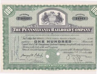 Pennsylvania Railroad Stock Certificate (ic) photo