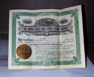 Old Cripple Creek Gold Mining Stock Certificate Colorado Rush Teller County Co photo