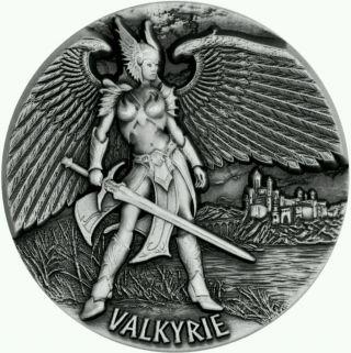 2016 Tokelau Valkyrie Legends Of Asgard Silver Coin Antique Max Relief 3 Oz photo