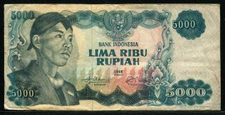 Indonesia 1968,  5000 Rupiah,  P111,  F - Vf photo