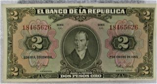 2 Pesos Colombia Banknote World Bank Note South America American Travel Souvenir photo