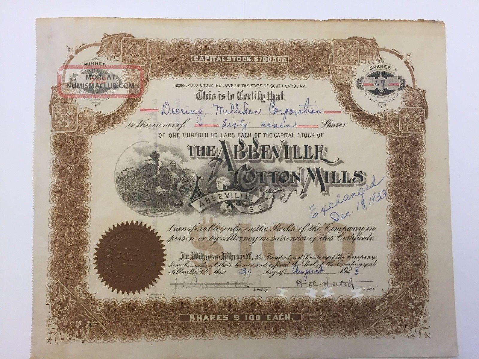 1928 Abbeville Cotton Mills Stock Certificate Rare South Carolina Slave Vignette Stocks & Bonds, Scripophily photo