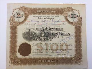 1928 Abbeville Cotton Mills Stock Certificate Rare South Carolina Slave Vignette photo