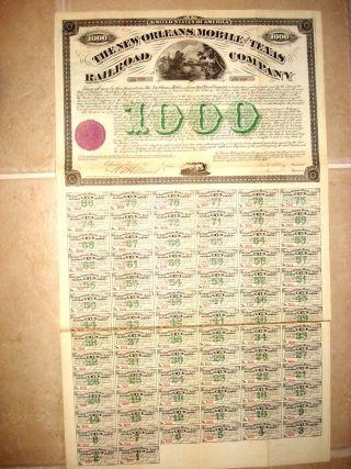 Stock Bond Certificate - The Orleans,  Mobile & Texas Rr Co.  $1000 Bond 1873 photo