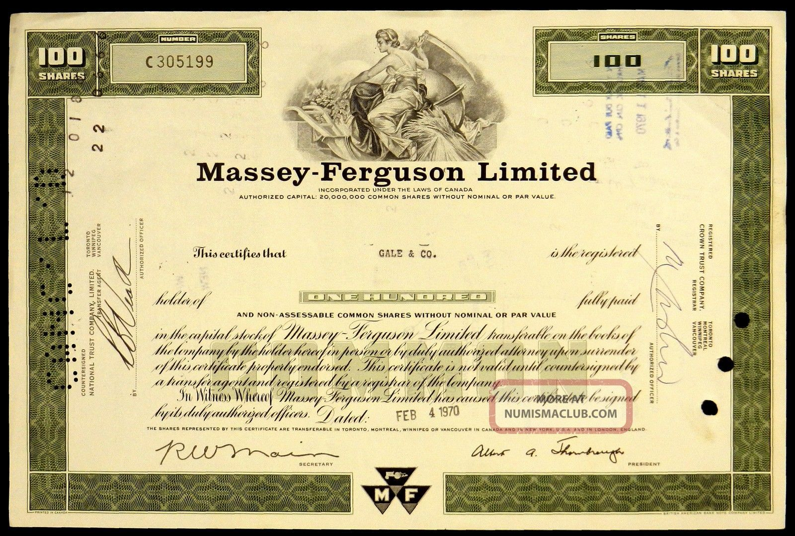 Stock Certificate Massey Ferguson Limited Canada 100 Shares Common Green World photo