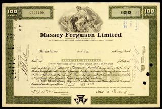 Stock Certificate Massey Ferguson Limited Canada 100 Shares Common Green photo