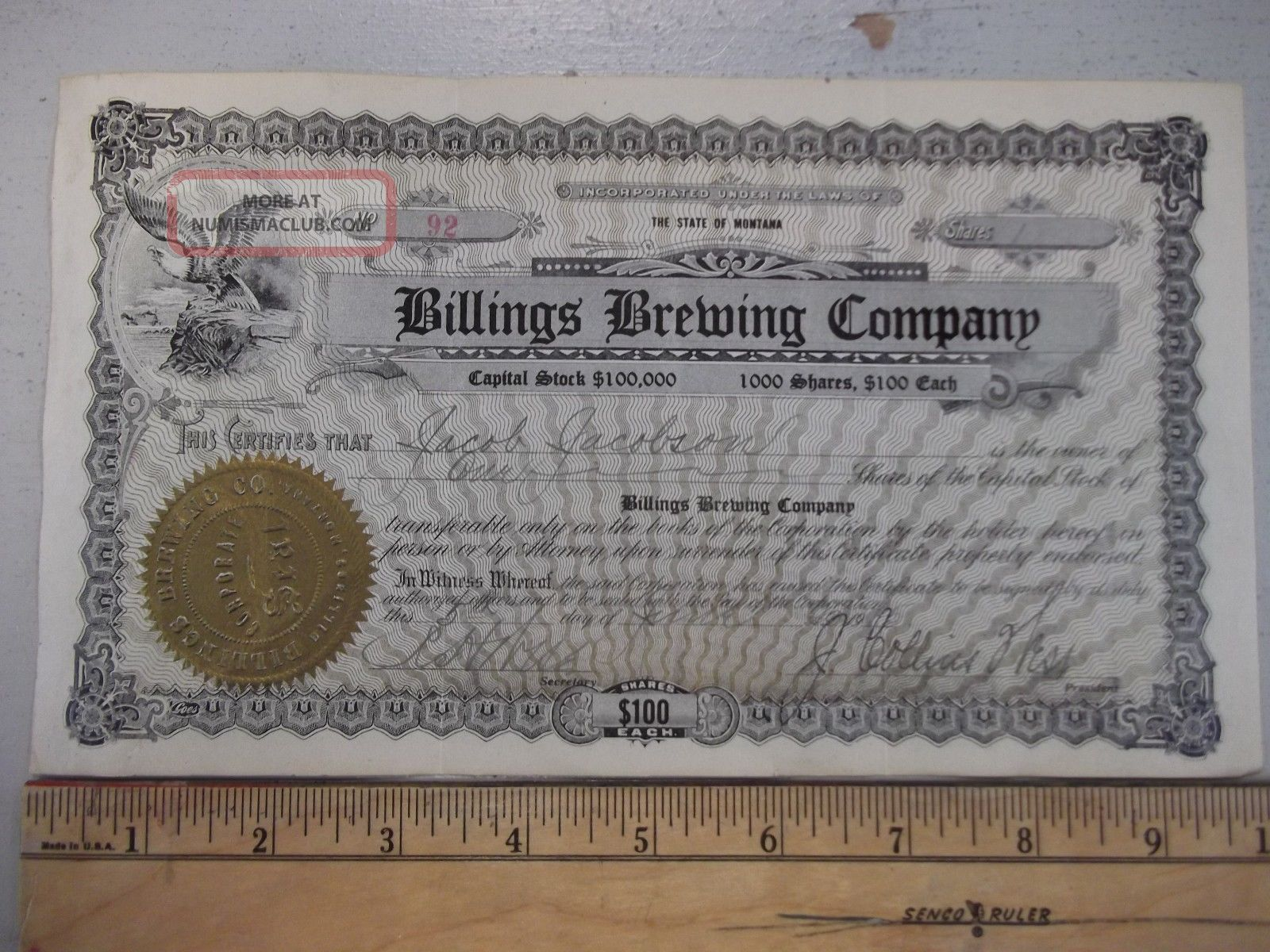 Antique 1915 Billings Brewing Company Stock Certificate Montana Beer Yellowstone Stocks & Bonds, Scripophily photo