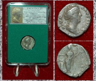 Roman Empire Coin Faustina I Vesta Holding Palladium Silver Denarius photo