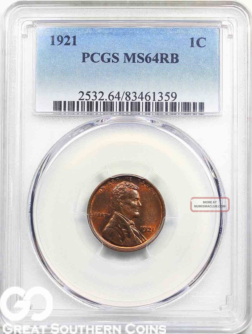 1921 Lincoln Cent Wheat Penny Pcgs Ms 64 Rb Tougher This, Small Cents photo