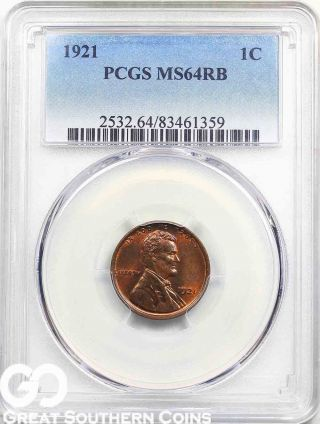 1921 Lincoln Cent Wheat Penny Pcgs Ms 64 Rb Tougher This, photo